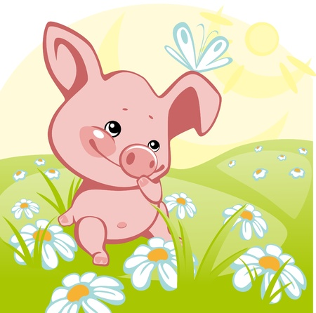 piggish: pig sitting on a flower meadow. similar to the portfolio
