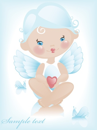 Angel with hearts. valentine 2. Similar in a portfolio Vector