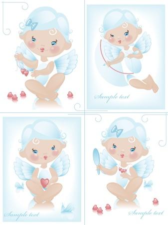 Angel with hearts. valentine. Collection. Similar in a portfolio Vektorové ilustrace