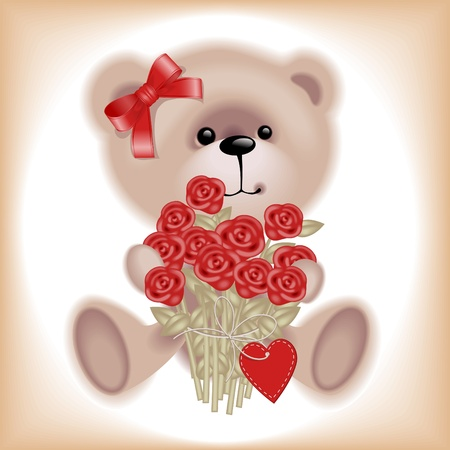Girl Teddy Bear with flowers. Similar in a portfolio Stock Vector - 9279239