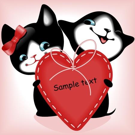 heart. black kittens. similar to the portfolio Vector