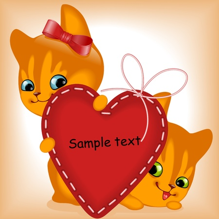 heart. ginger kittens. similar to the portfolio Vector