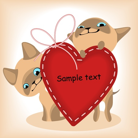 heart. Siamese kittens. similar to the portfolio Stock Vector - 9279226