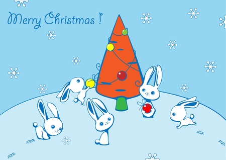 furtree: Christmas card with hares and a fur-tree from carrots Illustration