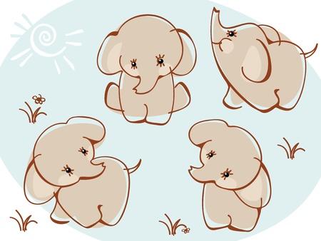 cute: Sammlung Elefanten. �hnlich wie portfolio Illustration