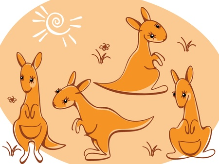 collection kangaroos. Similar to portfolio Vector