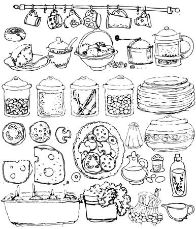 verzameling keukenartikelen. hand getekend