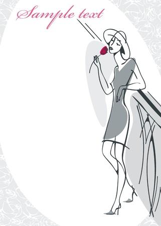 woman breathes fragrance of a rose. Similar to portfolio