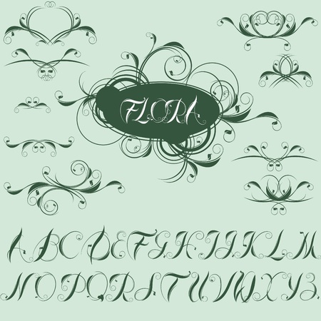 calligraphic design elements and alphabet.