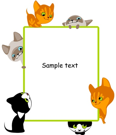 different kittens. Place for your text. vertical Stock Vector - 9305037