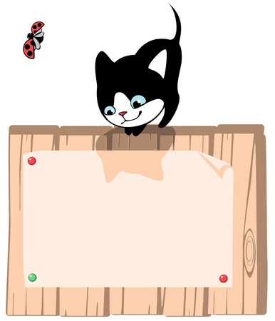 preschool poster: kitten. Place for your text. vertical Illustration