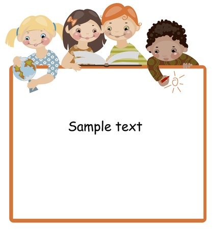School childhood. Place for your text.  Vector