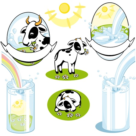 pasteurized: set of cows. milk. vektor. Similar in a portfolio Illustration