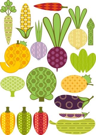 gestileerde groente, verzameling. Vergelijkbaar in een portfolio