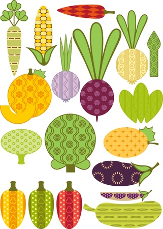 stylized vegetable, collection. Similar in a portfolio Vector