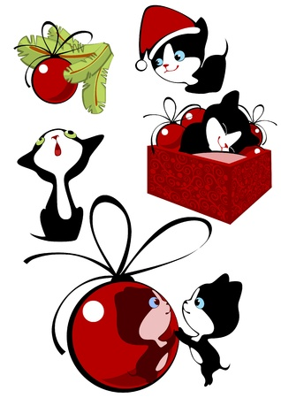Collection of Christmas little black kittens Vector