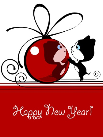 Little kitten playing with a New Year's bal Stock Vector - 9327788