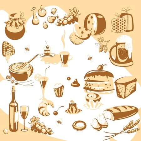 pane e vino: Vector Sketch impostato. cibo. simile al portafoglio