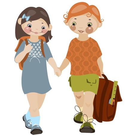 L'enfance école. garçon et fille 2. similaires au portefeuille Illustration