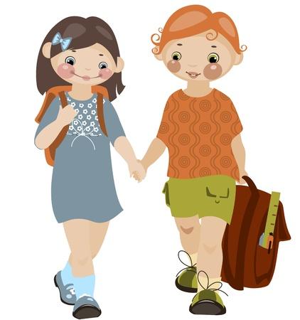 School childhood. boy and girl 2. similar to the portfolio Vector