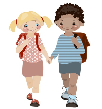 School childhood. boy and girl. similar to the portfolio Vector