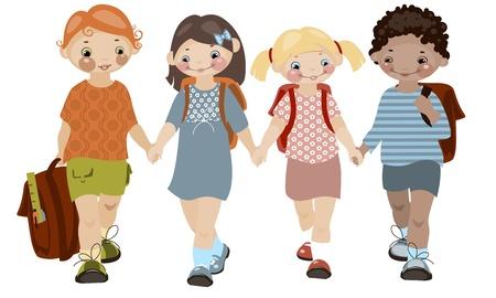 cheerful cartoon: Infancia de la escuela. amigos. similar a la cartera