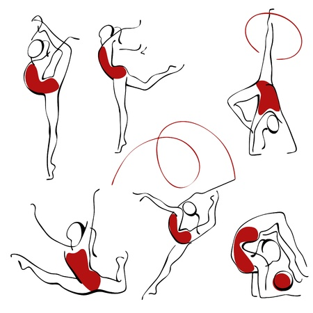 rhythmic gymnastics. set gray figures 3. Stock Vector - 9387115