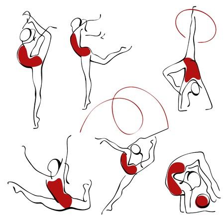 gymnastic: rhythmic gymnastics. set gray figures 3.