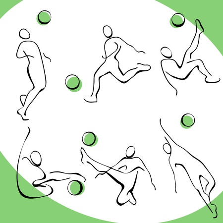 summer olympics: football icons. a set of gray figures 3.