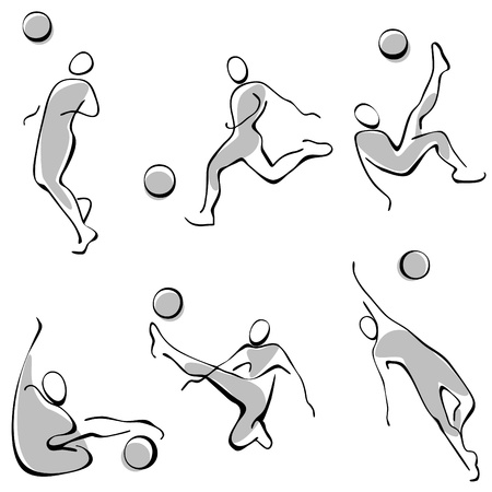 summer olympics: football icons. a set of gray figures. Illustration