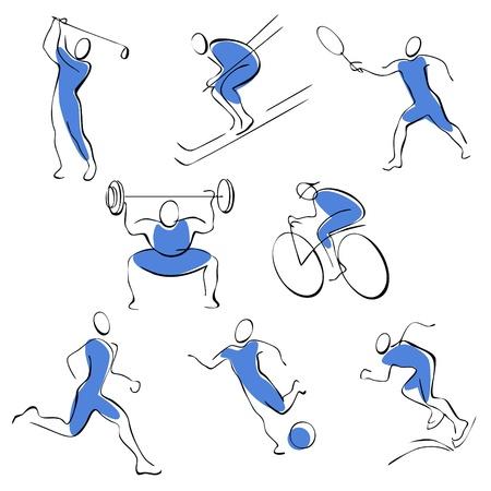 levantamiento de pesas: Conjunto de iconos de deporte. hombre sobre un fondo azul.