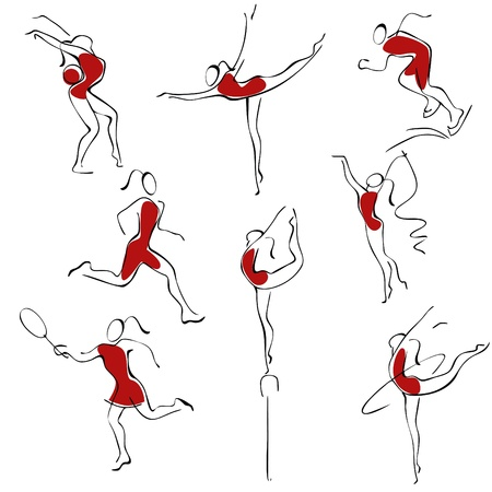 badminton sport symbol: Set sport icons. woman in red.