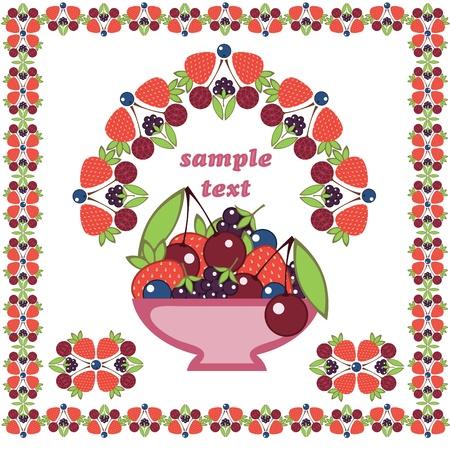 moras: cerezas, ar�ndanos, fresas, moras. ornamento