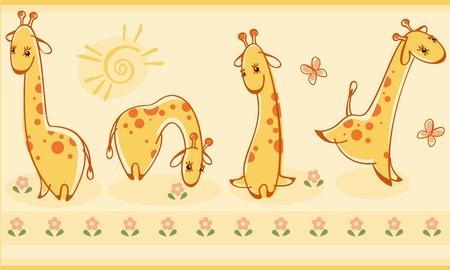 Border with giraffes. Similar to portfolio Stock Vector - 9427319