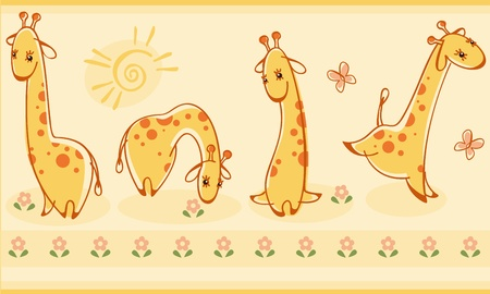 Border with giraffes. Similar to portfolio