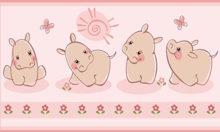 funny animals: Border with hippopotamuses. Similar to portfolio Illustration