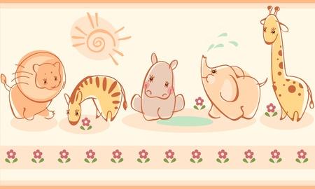 cute border: Confinano con zebre, giraffe, elefanti, leoni, ippopotami. Simile al portafoglio Vettoriali