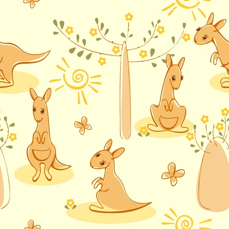 Wallpaper with kangaroos. Similar to portfolio Vector