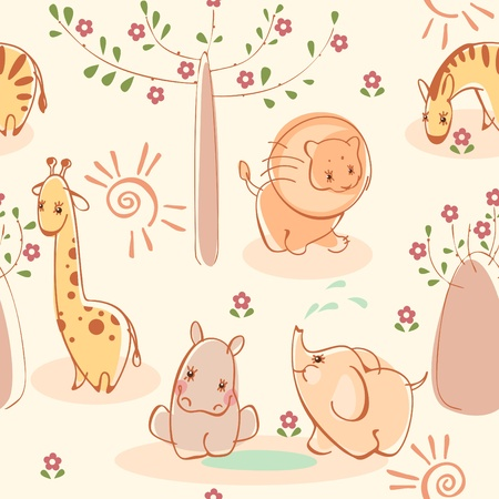 simple border: Wallpaper with zebras, giraffes, elephants, lions, hippos. Similar to portfolio