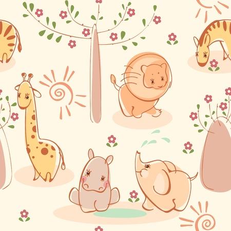 Wallpaper with zebras, giraffes, elephants, lions, hippos. Similar to portfolio Stock Vector - 9427313