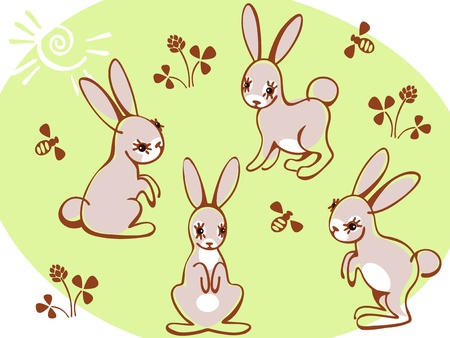 collection hares on a green background. Similar to portfolio Vector
