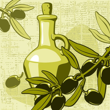 olive and jar with oil on a wattled background Stock Vector - 9452381