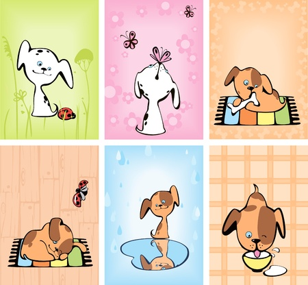 complete set of cards with cheerful  puppies. Vector