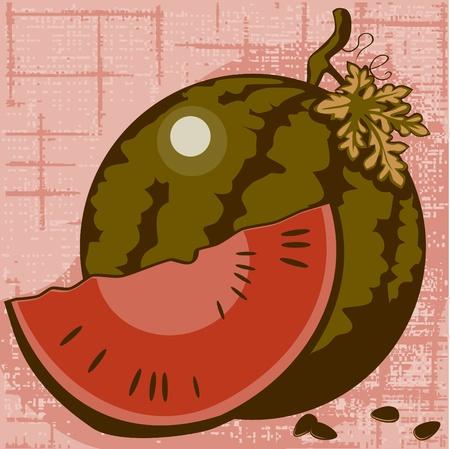 lobule: watermelon and lobule on a wattled background