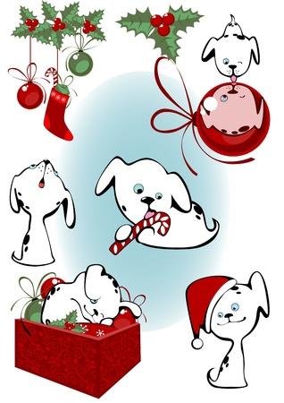 dalmata: Natale insieme piccoli cuccioli Vettoriali