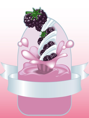 mure: BlackBerry yogurt.vektor Illustration