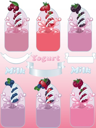 milk and berries with label in front Vector