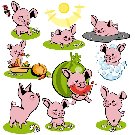 set small pink of piglets Vector
