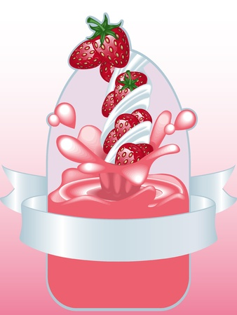 strawberry yogurt with label in front Vector