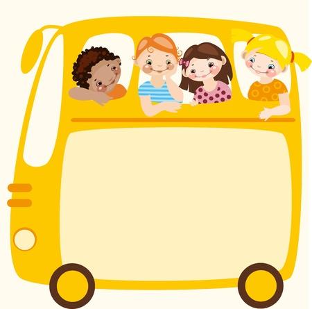 cheerful cartoon: Programa de la escuela. Colocar el texto en un autob�s escolar amarillo Vectores